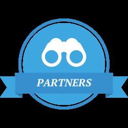 Partners Logo with kids binoculars
